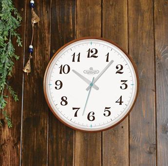 壁掛け時計 サテライトクロック おしゃれ シンプル 木枠 ナチュラル ブラウン Φ35.5cm 秒針音が静かなスイープ運針 連続秒針                                        [saterait clock]