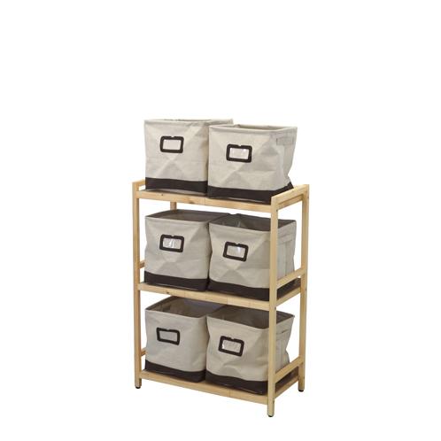 ラック3段と布箱(小)6個