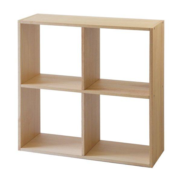 画像1: ホワイトアッシュ天然木シェルフ   4マスシェルフ オープンシェルフ 本棚 上質なシンプルナチュラル (1)