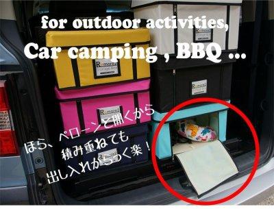 画像2: フタ付き収納ボックス Mサイズ 重ねたままでも開けられてアウトドアにも便利