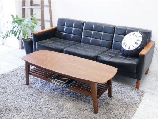 画像1: 3人掛けソファーに。リビングセンターテーブルコパン 幅120ウォルナット 【送料無料】 (1)