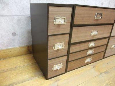 画像1: レトロモダンなデザインの卓上収納 シオンシステム収納 木製 小物入れ ウォルナット