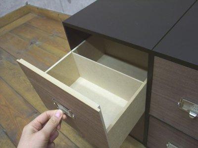 画像1: レトロモダンなデザインの卓上収納 シオン 木製 ウォルナット ビデオ・DVDが入るサイズ