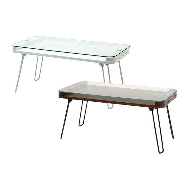 画像1: 折りたためるガラステーブル クレア ブラウン ホワイト (1)