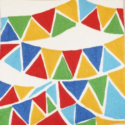 画像1: クッションカバー 45×45 コットン刺繍 フラッグ柄(旗柄) シンプル&シック※完売しました