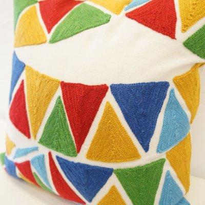 画像2: クッションカバー 45×45 コットン刺繍 フラッグ柄(旗柄) シンプル&シック※完売しました