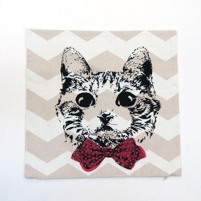 画像1: クッションカバー 猫 グラフィック 45×45 北欧デザイン