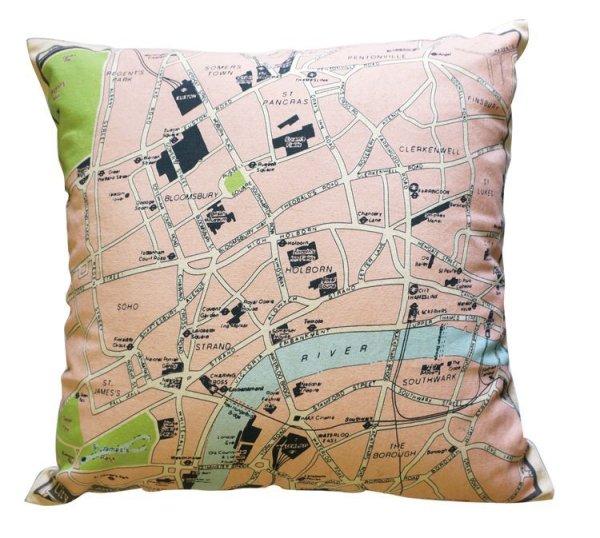 画像1: クッションカバー 45×45 地図柄 ロンドン地図 かわいい プリントクッション (1)