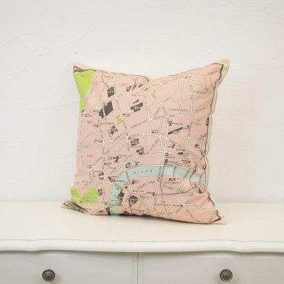 画像3: クッションカバー 45×45 地図柄 ロンドン地図 かわいい プリントクッション