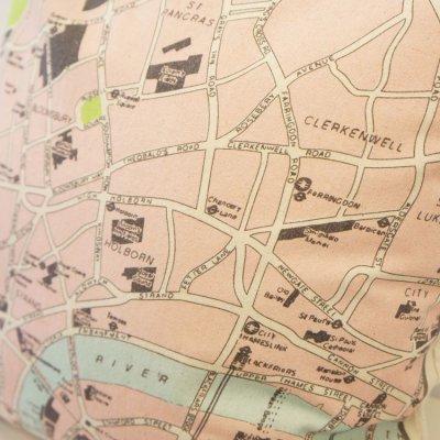 画像1: クッションカバー 45×45 地図柄 ロンドン地図 かわいい プリントクッション