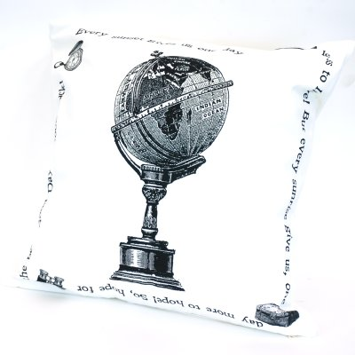 画像2: クッションカバー 地球儀トラベル 45×45 シンプル シック アンティーク