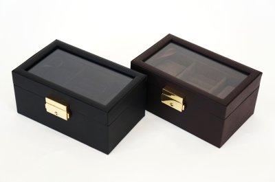 画像3: ジュエリー箱 ブラックレザー調 腕時計2本収納とリング収納 カギ付き