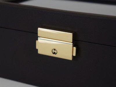 画像2: ジュエリー箱 ブラックレザー調 腕時計2本収納とリング収納 カギ付き