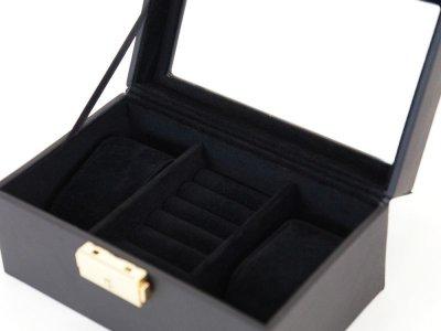 画像1: ジュエリー箱 ブラックレザー調 腕時計2本収納とリング収納 カギ付き