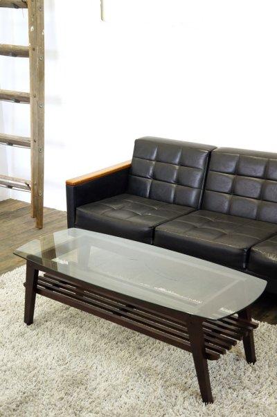 画像1: (完売)木製ガラステーブル コルネ120 センターテーブル ソファーテーブル 棚付き ブラウン おしゃれ 幅120cm 【送料無料】