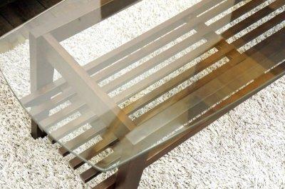 画像2: (完売)木製ガラステーブル コルネ120 センターテーブル ソファーテーブル 棚付き ブラウン おしゃれ 幅120cm 【送料無料】