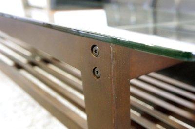 画像3: (完売)木製ガラステーブル コルネ120 センターテーブル ソファーテーブル 棚付き ブラウン おしゃれ 幅120cm 【送料無料】