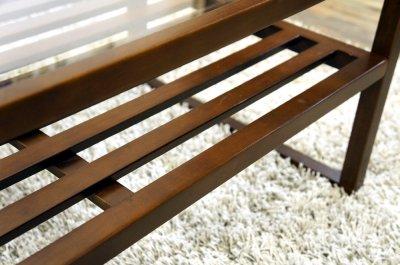 画像2: ガラスリビングテーブル クアトロ90 ダークブラウン ガラス天板 棚付 ソファーテーブル モダン アジアン 幅90cm 【送料無料】