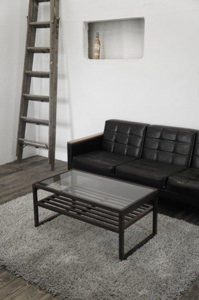 画像3: ガラスリビングテーブル クアトロ90 ダークブラウン ガラス天板 棚付 ソファーテーブル モダン アジアン 幅90cm 【送料無料】