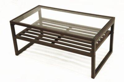 画像1: ガラスリビングテーブル クアトロ90 ダークブラウン ガラス天板 棚付 ソファーテーブル モダン アジアン 幅90cm 【送料無料】
