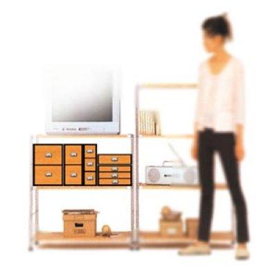 画像2: レトロモダンなデザインの卓上収納 シオン 木製 ウォルナット ビデオ・DVDが入るサイズ