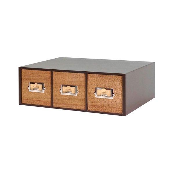 画像1: レトロモダンなデザインの卓上収納 シオンシステム収納 木製 小物入れ ウォルナット (1)