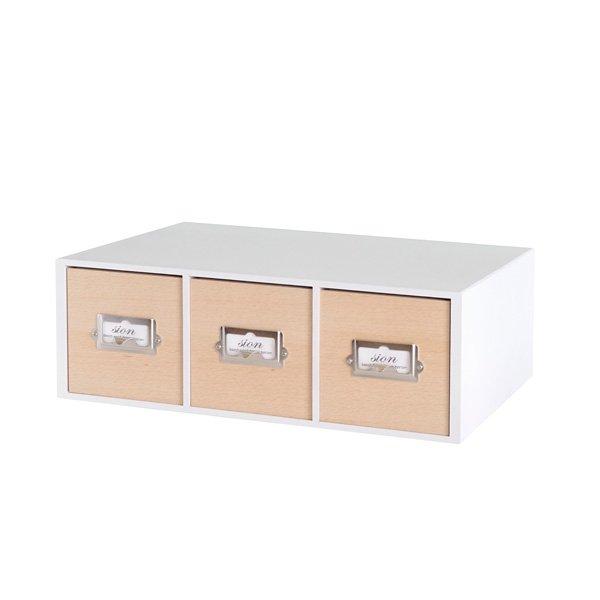 画像1: レトロモダンなデザインの卓上収納 シオンシステム収納 小物が入るサイズ 木製 ホワイト (1)