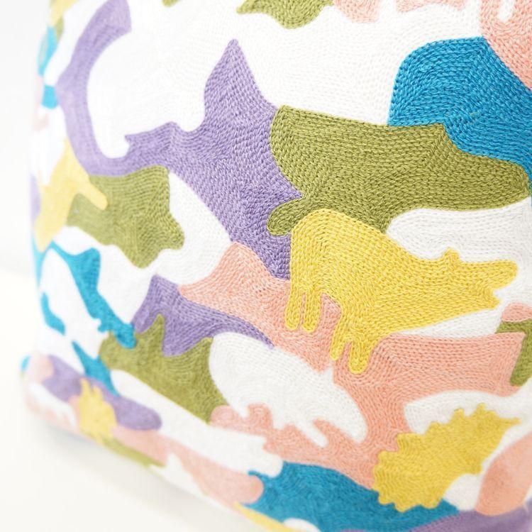 アニマル刺繍 クッションカバー 手縫い