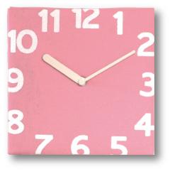 フェルト壁掛け時計ピンク