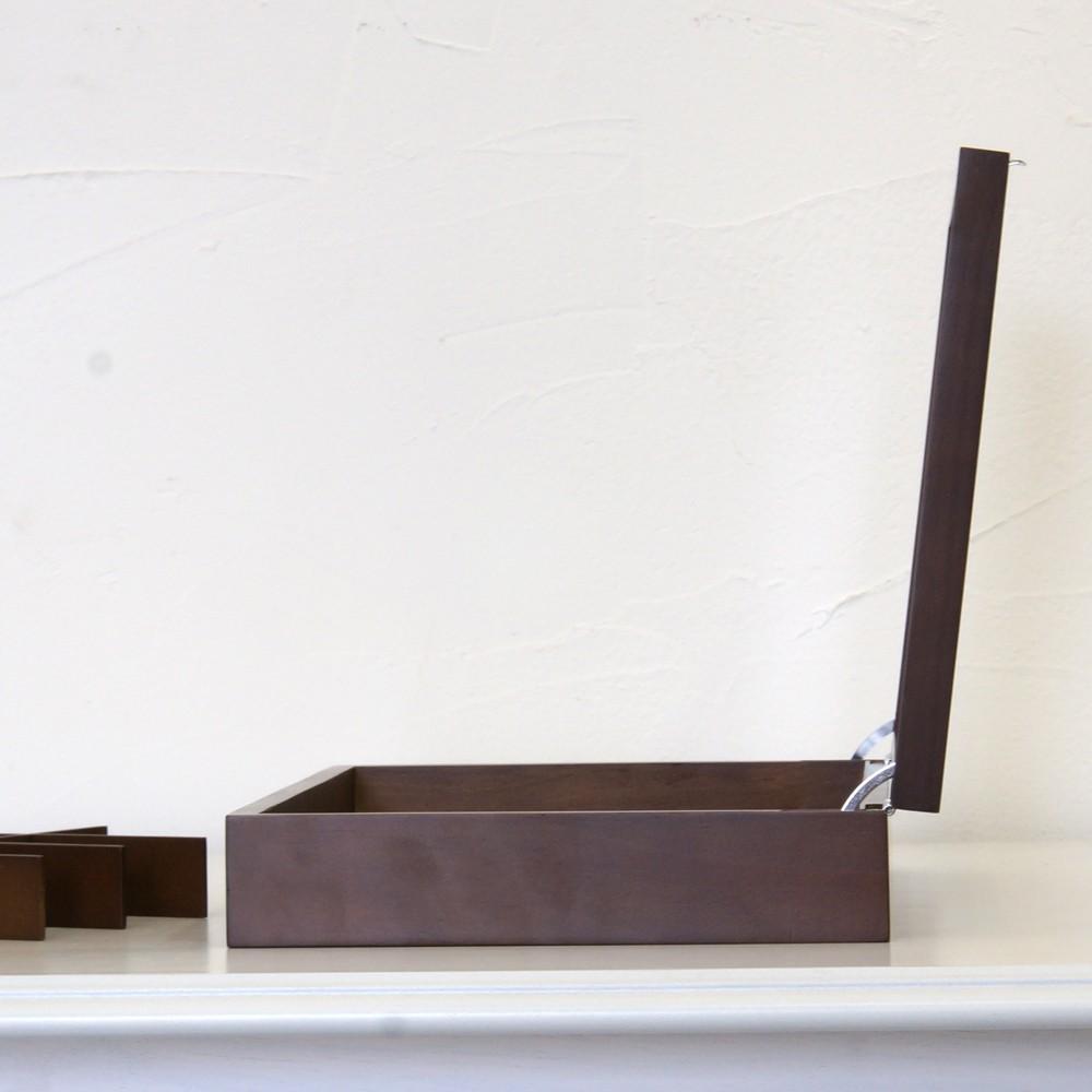 木製ガラスコレクションボックス ブラウン 仕切り付き ジュエリーボックス