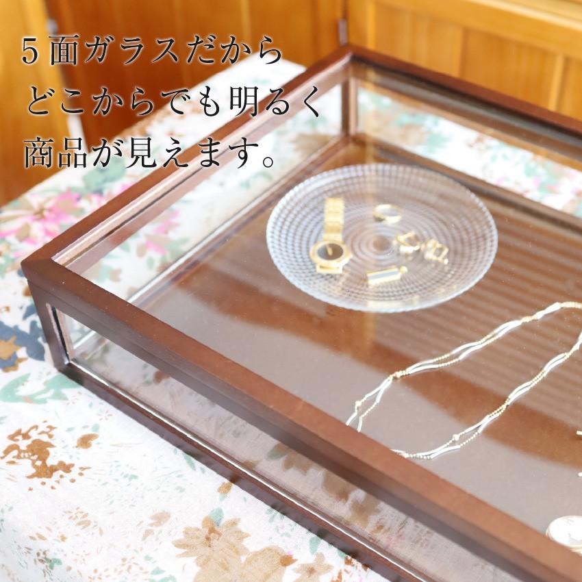 木製5面ガラスのディスプレイケースライトブラウン