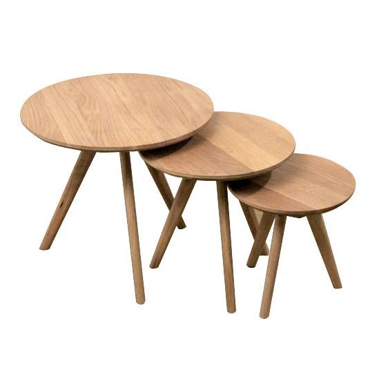 オーク丸型ネストテーブル