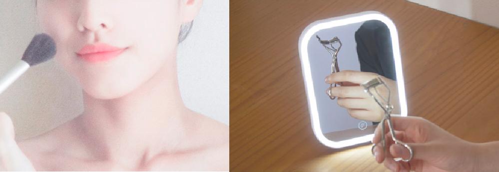 LEDが明るく照らしてメイクがしやすいミラー