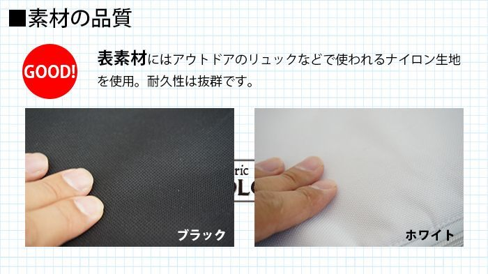 素材の品質。表素材にはアウトドアのリュックなどで使われるナイロン生地を使用。耐久性は抜群です。