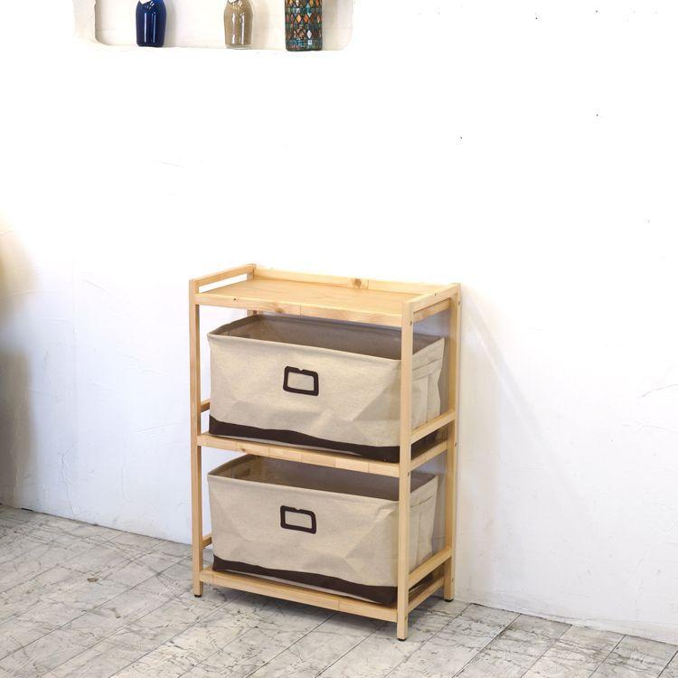 ラック3段と布箱(大)2個