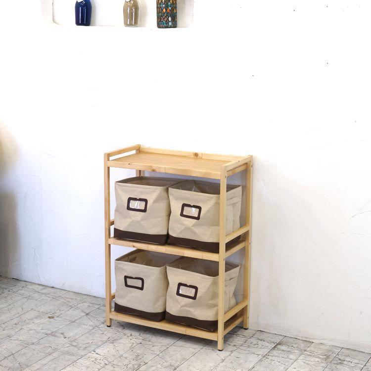 ラック3段と布箱(小)4個