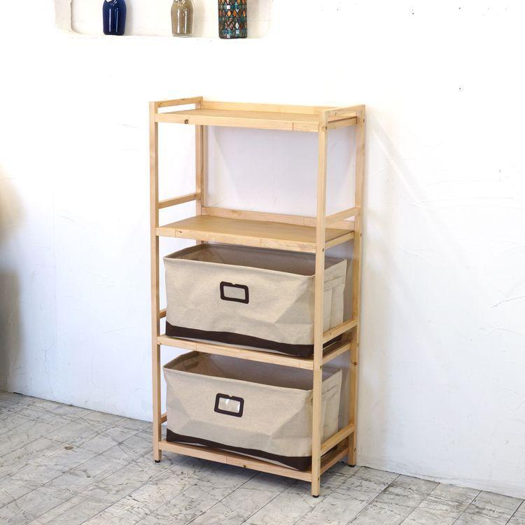 ラック4段と布箱(大)2個