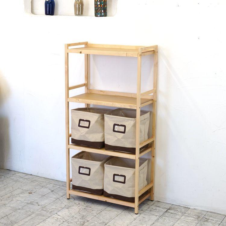 ラック4段と布箱(小)4個