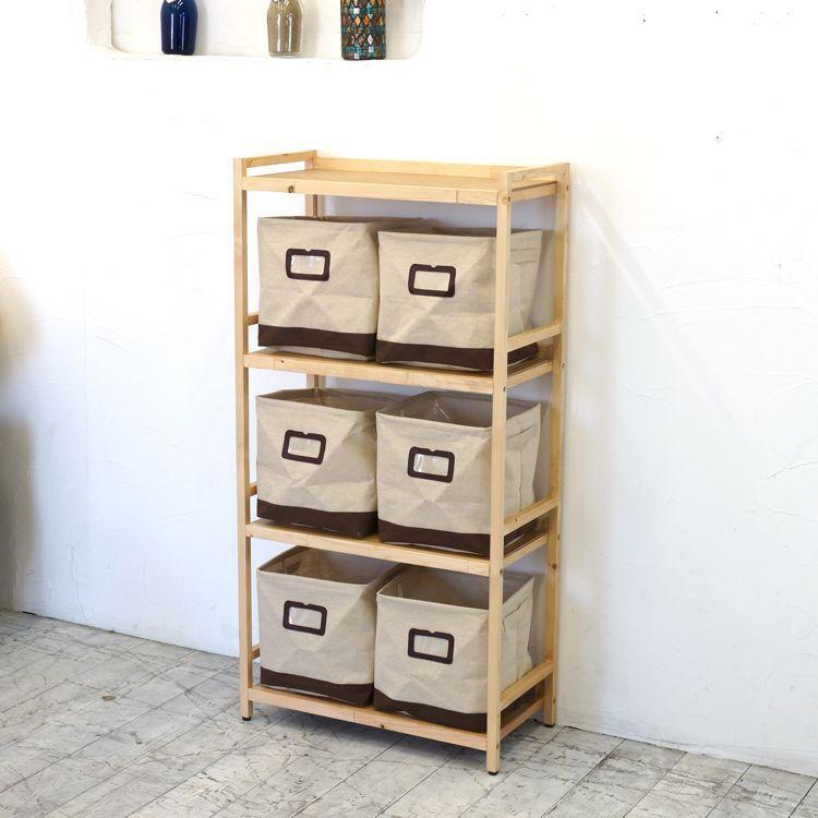 ラック4段と布箱(小)6個