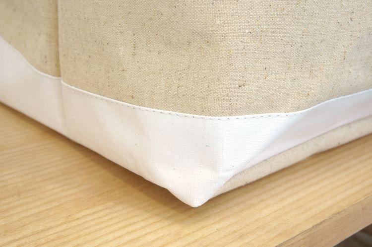 Ema エマ収納ボックス 生成り帆布と白のツートンカラー